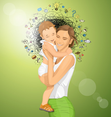 child holding sign: Happy family concept. Vector woman with child Illustration