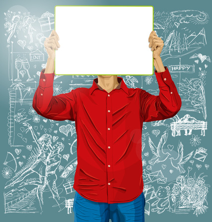 Love concept. Vector Man with write board in his hands against love story elements background photo