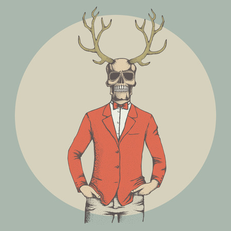 Vector skull with deer horn illustration. Hand drawn skull. Spooky and scary halloween skull Illustration