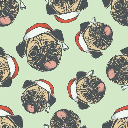carlin: Christmas Pug dog vector seamless pattern illustration. Pug dog head isolated. Adorable Chinese pug dog on New Year