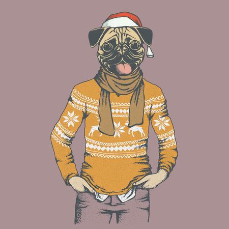 Christmas Pug dog vector illustration. Pug dog in human sweater or sweatshirt. Adorable Chinese pug dog on New Year