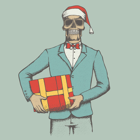 Vector Christmas skull with gift illustration. Hand drawn skull. Spooky and scary halloween skull
