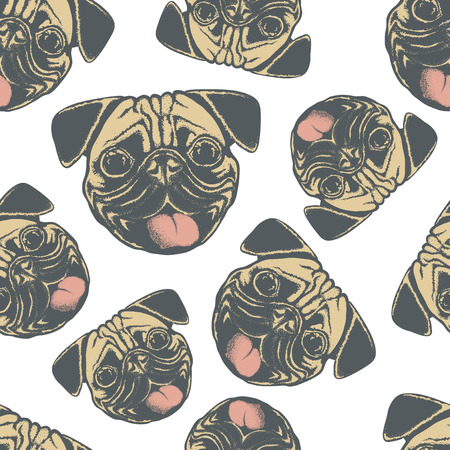 carlin: Pug dog vector seamless pattern illustration. Pug dog head isolated. Adorable Chinese pug dog vector character Illustration