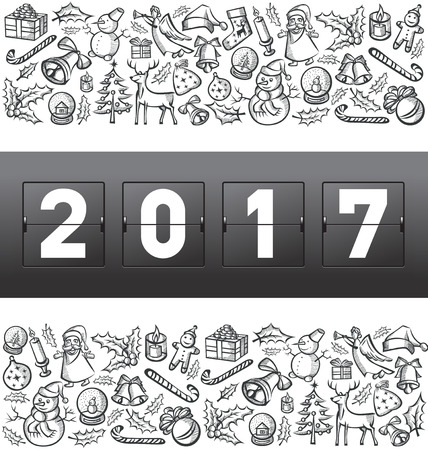 diamond candle: Vector mechanical scoreboard numbers 2017 and Christmas, and New Year objects