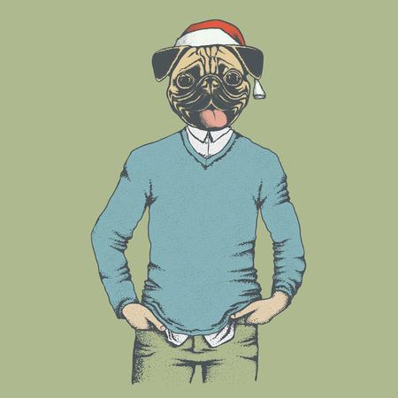 year of the dog: Christmas Pug dog vector illustration. Pug dog in human sweater or sweatshirt. Adorable Chinese pug dog on New Year