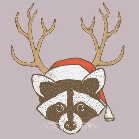 Christmas raccoon vector illustration. Raccoons head with santa hat. Adorable mammal raccoon on New Year