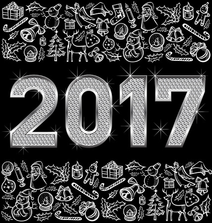 diamond candle: Vector diamond numbers 2017, and Christmas, and New Year objects Illustration
