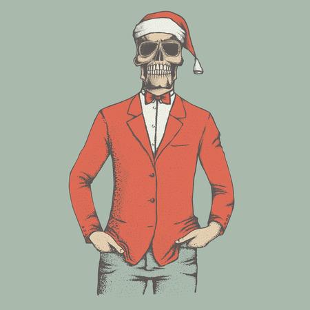 Vector Christmas skull illustration. Hand drawn skull. Spooky and scary halloween skull