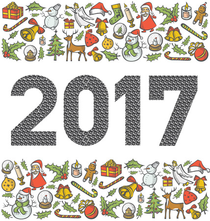 Vector diamond numbers 2017, and Christmas, and New Year objects Illustration