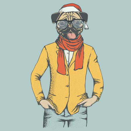 carlin: Christmas pug dog vector illustration. Pug dog in human suit and Santa hat. Adorable Chinese pug dog on New Year