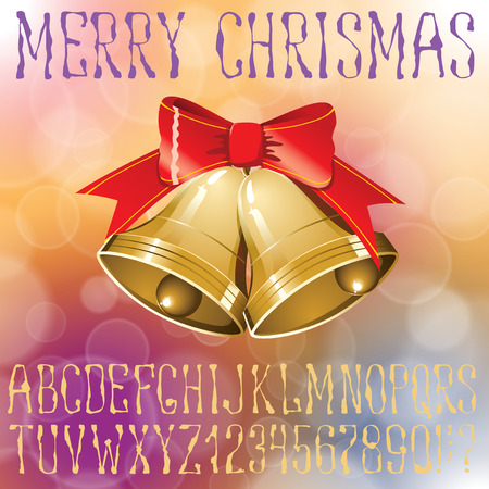 alphabet tree: Vector handmade Christmas alphabet. Background with bells and Christmas tree decorations