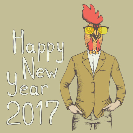 bantam hen: Christmas Rooster vector illustration. Rooster in human suit. 2017 new year of the rooster Illustration
