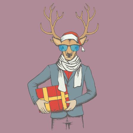 Christmas Deer vector illustration. Reindeer in human suit with gift Illustration