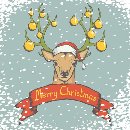 Christmas deer vector illustration. Reindeer head with horn, Santa hat and toys. Inscription Merry Christmas and snow