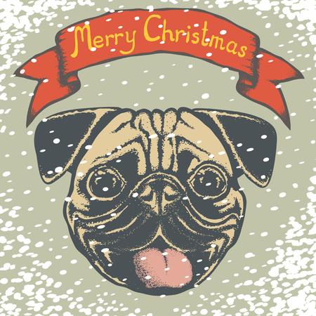 carlin: Pug dog vector illustration. Pug dog head isolated. Inscription Merry Christmas and snow