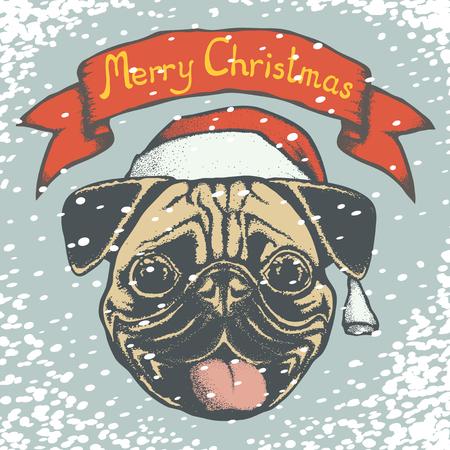 carlin: Christmas pug dog vector illustration. Pug dog head with Santa hat. Inscription Merry Christmas and snow