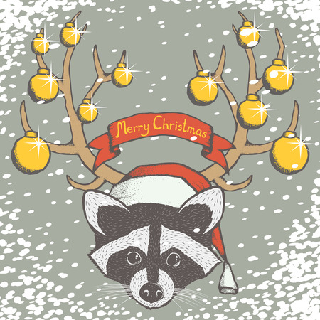 raccoons: Christmas raccoon vector illustration. Raccoons head with santa hat. Inscription Merry Christmas and snow