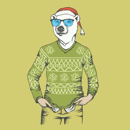 Christmas white polar bear vector illustration. White polar bear in human sweatshirt. Christmas Polar bear in Santa hat