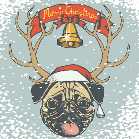 carlin: Christmas pug dog vector illustration. Pug dog head with Santa hat. Inscription Merry Christmas and snow