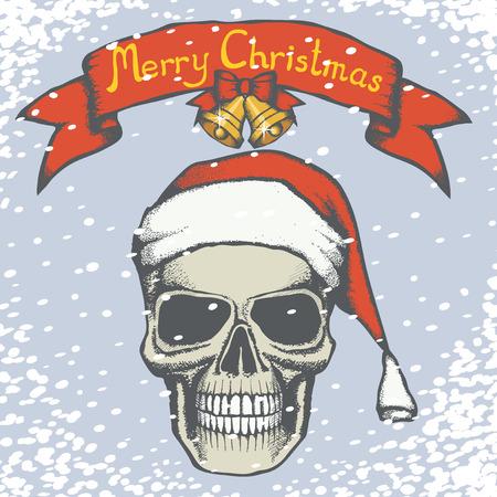 Vector Christmas skull illustration. Hand drawn skull in Santa hat. Inscription Merry Christmas and snow