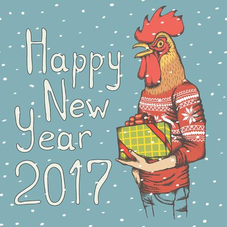 sweatshirt: Christmas Rooster vector illustration. Rooster in human sweatshirt with gift