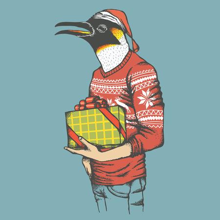 Christmas penguin vector illustration. Penguin in human sweatshirt with gift. Christmas Penguin vector in Santa hat