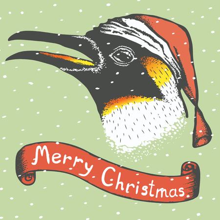 antarctic: Penguin vector illustration. Illustration of cute antarctic penguin. Christmas Penguin vector in Santa hat