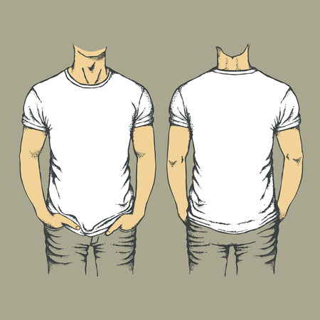 t shirt model: Vector white t-shirt template. Top and back side of empty white templates t-shirts Illustration