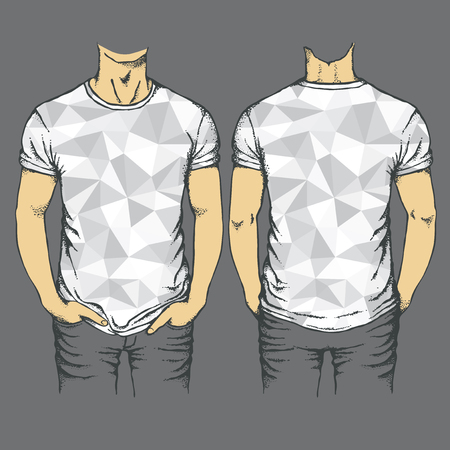Vector gray t-shirt template. Top and back side of empty gray templates t-shirts Illustration