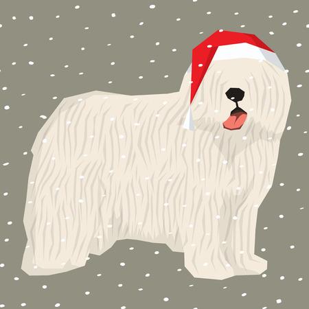 Vector polygon dog collection. Dog in Christmas Santa hat. Komondor Illustration