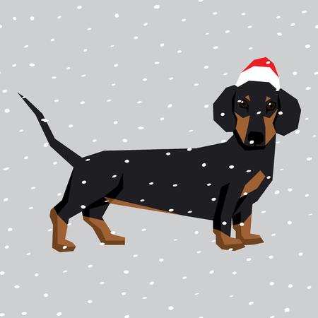 ベクトル多角形の犬のコレクションです。クリスマス サンタ帽子の犬。ダックスフント  イラスト・ベクター素材