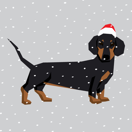Vector polygon dog collection. Dog in Christmas Santa hat. Dachshund Vettoriali