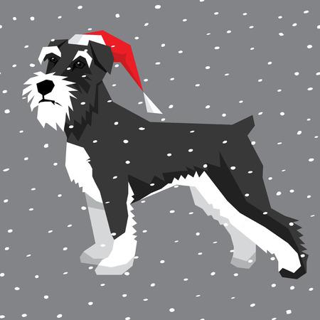 Vector polygon dog collection. Dog in Christmas Santa hat. Miniature Schnauzer