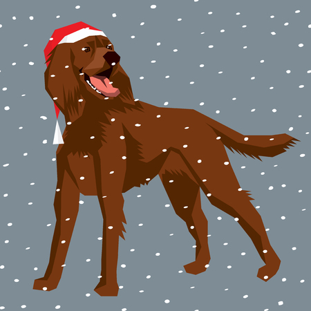 setter: Vector polygon dog collection. Dog in Christmas Santa hat.  Irish Setter
