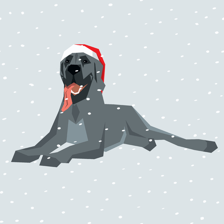 great: Vector polygon dog collection. Dog in Christmas Santa hat. Great Dane Illustration