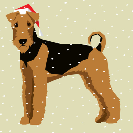 Vector polygon dog collection. Dog in Christmas Santa hat. Airedale Terrier Illustration