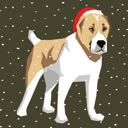 alabai: Vector polygon dog collection. Dog in Christmas Santa hat. Central Asian Shepherd Dog