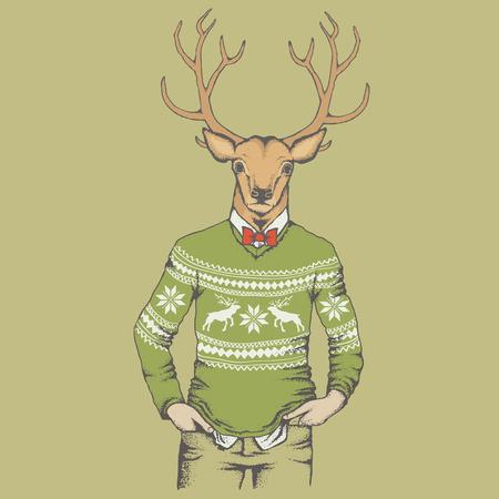 sudadera: ilustración vectorial de los ciervos. Reno en la camiseta humana