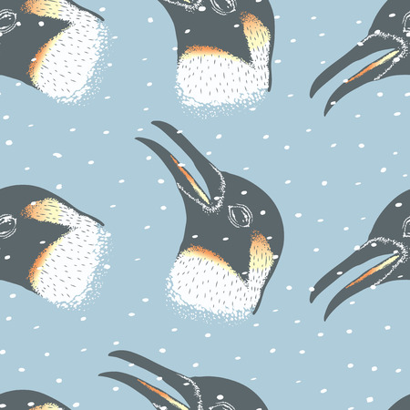 antarctic: Penguin vector illustration. Illustration of cute antarctic penguin seamless pattern