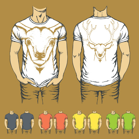 t shirt model: Vector t-shirts templates with prints of reindeer. Top and back side of t-shirts with deer