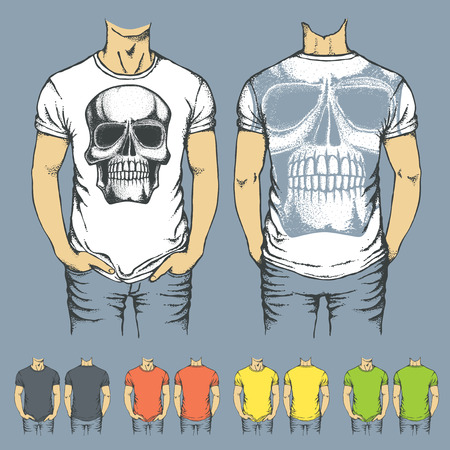 t shirt model: Vector t-shirts templates with prints of human skull. Top and back side of t-shirts Illustration