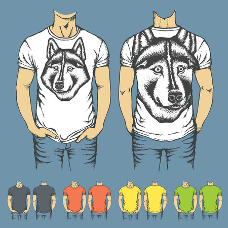 t shirt model: Vector t-shirts templates with prints of husky dog. Top and back side of t-shirts Illustration