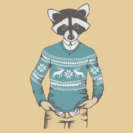 Raccoon vector illustration concept. Raccoon in human sweater, sweatshirt