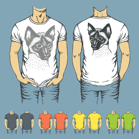 Vector t-shirts templates with prints of siamese cat. Top and back side of t-shirts
