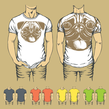 Vector t-shirts templates with prints of pug dog. Top and back side of t-shirts