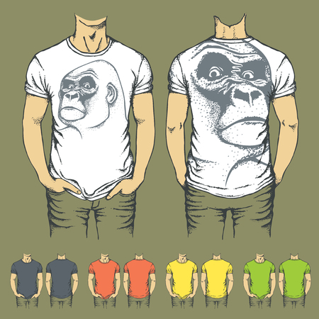 t shirt model: Vector t-shirts templates with prints of gorilla monkey. Top and back side of t-shirts Illustration