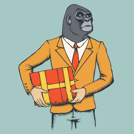 monkey suit: Monkey vector concept. Illustration of African gorilla in human suit. Monkey with gift Illustration