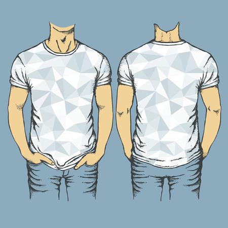 Vector blue t-shirts templates. Set of blue t-shirts