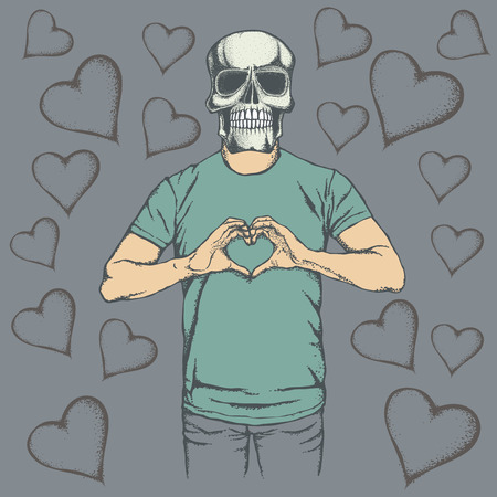 scull: Skull Valentine day vector concept. Illustration of scull head on human body. Skull showing heart shape