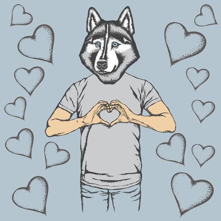 Dog Valentine day vector concept. Illustration of dog head on human body. Husky showing heart shape